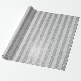 Elegant silver glitter chic stripes wrappingpaper