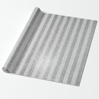 Elegant silver glitter chic stripes wrappingpaper
