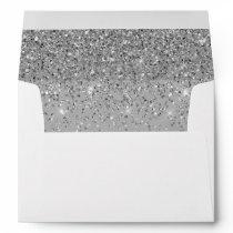 Elegant Silver Glitter Confetti Wedding Gray 5x7 Envelope
