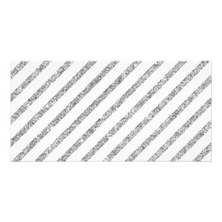 Elegant Silver Glitter Diagonal Stripes Pattern Card