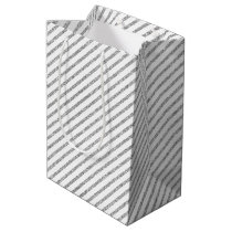 Elegant Silver Glitter Diagonal Stripes Pattern Medium Gift Bag