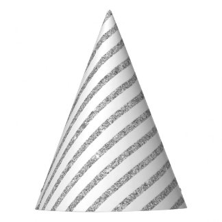 Elegant Silver Glitter Diagonal Stripes Pattern Party Hat