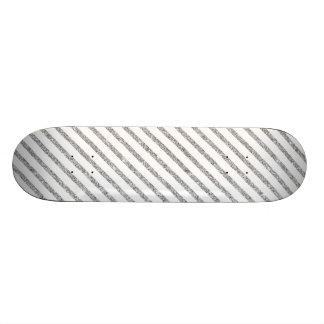 Elegant Silver Glitter Diagonal Stripes Pattern Skateboard Deck