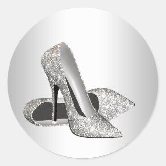 Elegant Silver Glitter High Heel Shoe Stickers