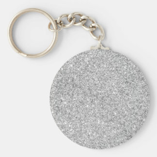 Elegant Silver Glitter Keychain