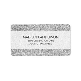 Elegant Silver Glitter Label
