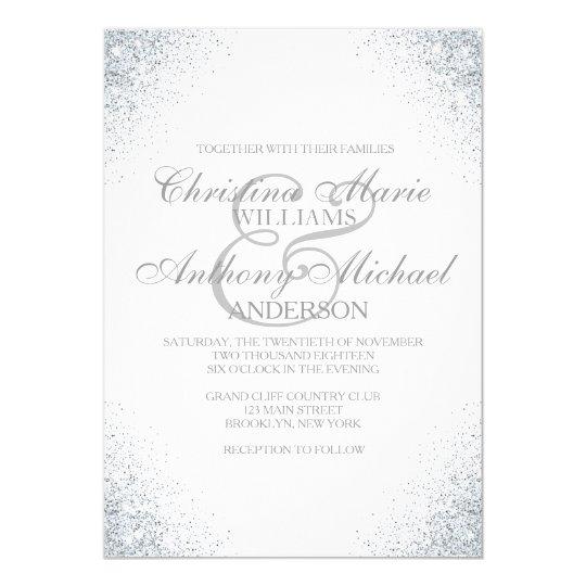 Elegant Silver Wedding Invitations: Elegant Silver Glitter Lights Wedding Invitation