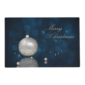 Elegant Silver Glitter Ornament Laminated Placemat