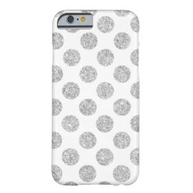 Elegant Silver Glitter Polka Dots Pattern Barely There iPhone 6 Case