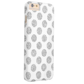 Elegant Silver Glitter Polka Dots Pattern Barely There iPhone 6 Plus Case