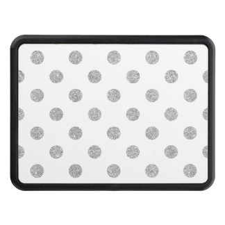 Elegant Silver Glitter Polka Dots Pattern Hitch Covers