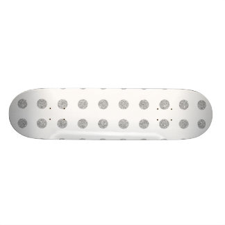 Elegant Silver Glitter Polka Dots Pattern Skateboard
