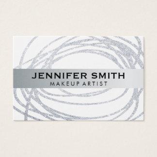 Elegant Silver Glitter Scribble Business Card