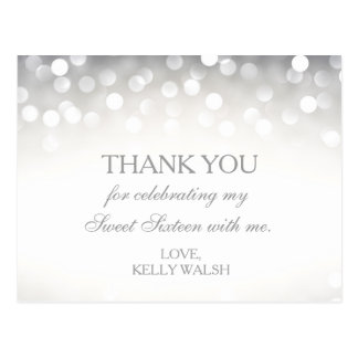 Elegant Silver Glitter Sweet 16 Thank You Note Postcard