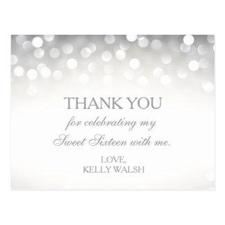 Elegant Silver Glitter Sweet 16 Thank You Note Postcard