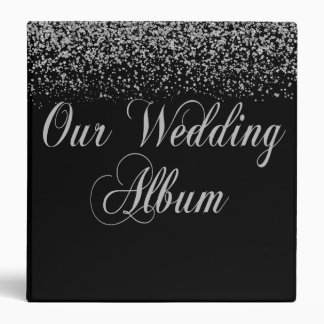 Elegant Silver Glitter Wedding Photo Album Binder