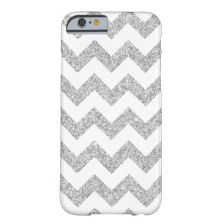 Elegant Silver Glitter Zigzag Chevron Pattern Barely There iPhone 6 Case
