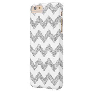 Elegant Silver Glitter Zigzag Chevron Pattern Barely There iPhone 6 Plus Case