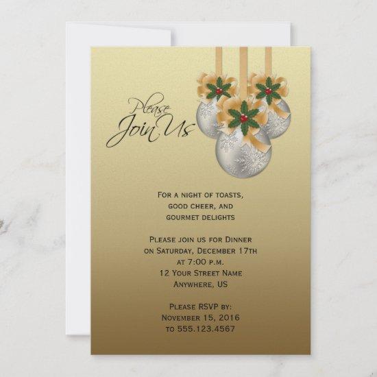 Elegant Silver Gold Christmas Ornaments Party Invitation