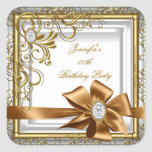 Elegant Silver Gold Jewel image Birthday Party Square Stickers