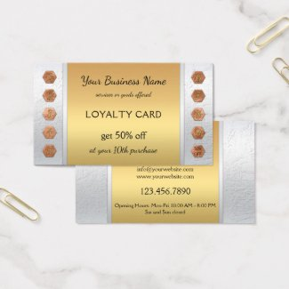 Elegant Silver Gold Loyalty Business Card