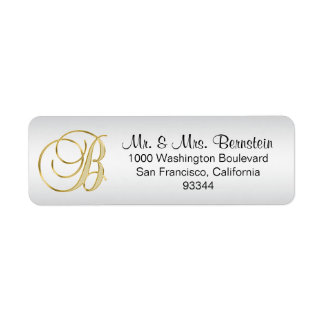 Elegant Silver Gold Monogram Letter 'B' Return Label