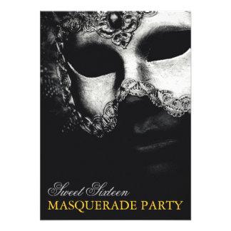 Elegant Silver Gold Sweet 16 Masquerade Invitation Personalized Announcements