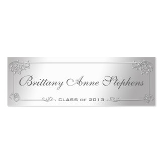Elegant Silver Graduation Name Card Insert Double-Sided Mini Business Cards (Pack Of 20)