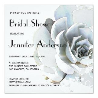 Elegant Silver Gray Blue Succulent Bridal Shower Card