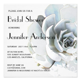 Elegant Silver Gray Blue Succulent Bridal Shower Personalized Announcements