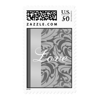 Elegant Silver & Gray Damask Scroll Love Postage