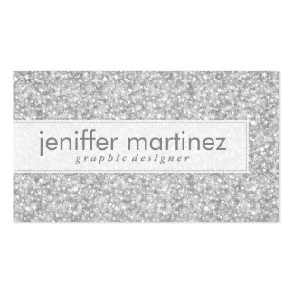 Elegant Silver Gray Glitter & Sparkles Texture Double-Sided Standard Business Cards (Pack Of 100)