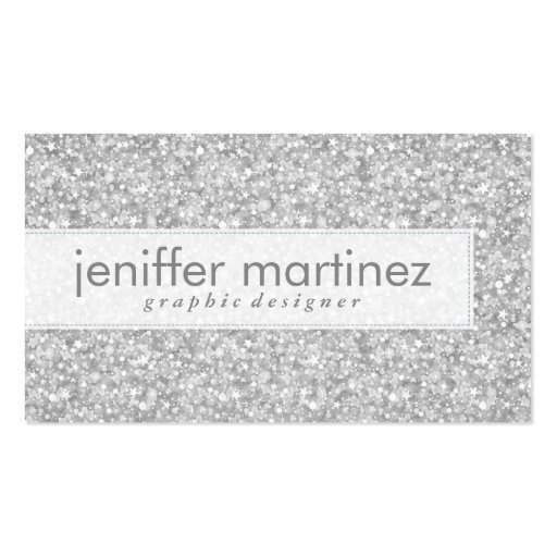 Elegant Silver Gray Glitter & Sparkles Texture Business Card Template