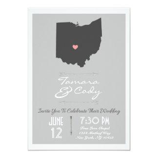Elegant Silver Gray Ohio State Wedding Invitation
