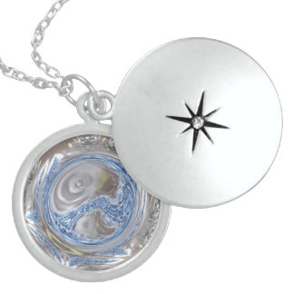 Elegant Silver Gray Shiny Blue Kaleidoscope Art Sterling Silver Necklace