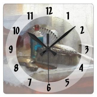 Elegant Silver Hair Brush Set Square Wall Clock