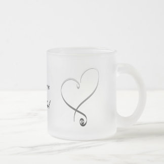 Elegant silver heart DIY Template Frosted Glass Coffee Mug