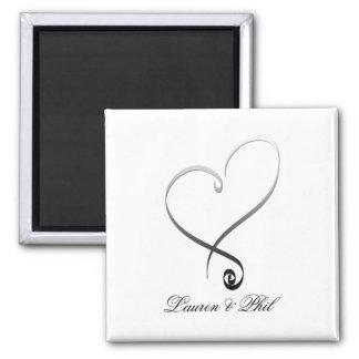 Elegant silver heart DIY Template Fridge Magnet
