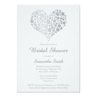 Elegant Silver Heart Light Gray Bridal Shower Card