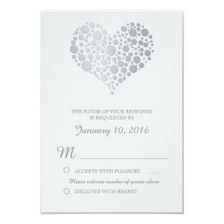 Elegant Silver Heart Light Gray Wedding RSVP Card