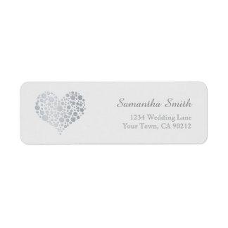 Elegant Silver Heart on Light Gray Label