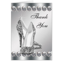 Elegant Silver High Heel Shoe Thank You Cards