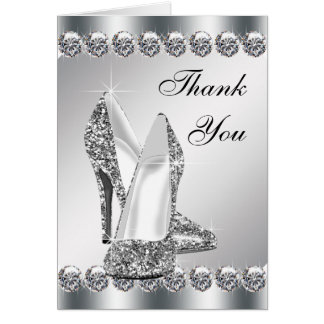 Elegant Silver High Heel Shoe Thank You Cards Note Card