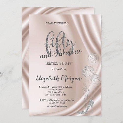 Elegant Silver High Heels   50th Birthday Party Invitation