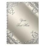 Elegant Silver Ivory Beige Notebook