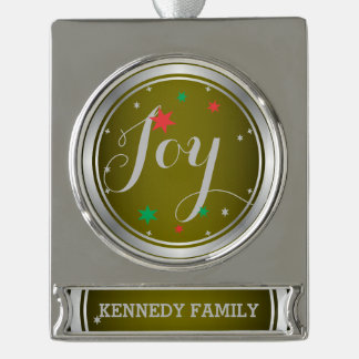 Elegant Silver Joy Christmas Ornament:Green Silver Plated Banner Ornament