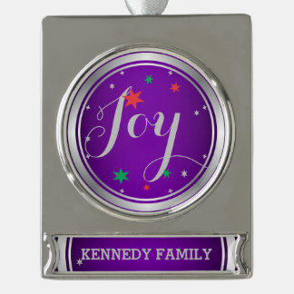 Elegant Silver Joy Christmas Ornament:Purple Silver Plated Banner Ornament