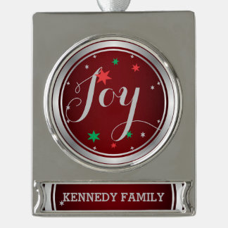 Elegant Silver Joy Christmas Ornament:Red Silver Plated Banner Ornament