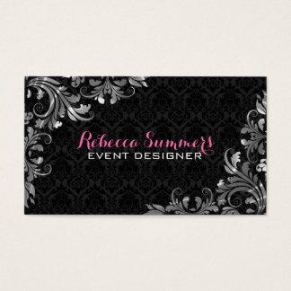 Elegant Silver Lace Black Damasks Business Card