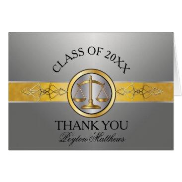 Elegant Silver Law School Graduation Thank You Card